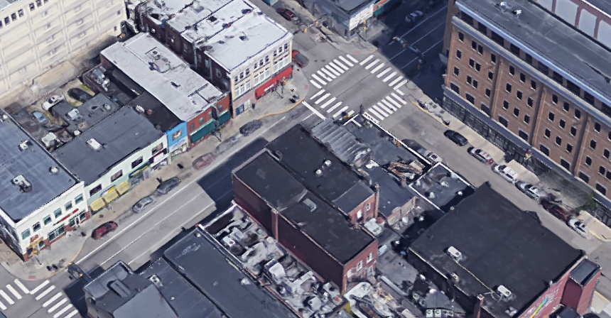 The Forbes Ave. roofs in question.